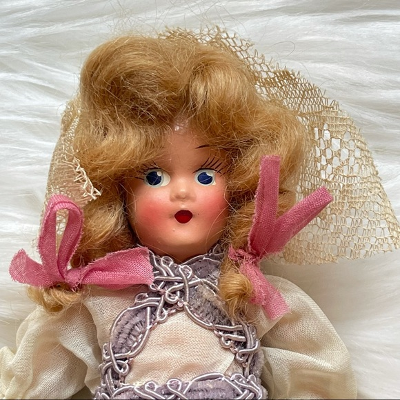 Vintage Doll In Old Fashioned Dress Lace Cap Bows